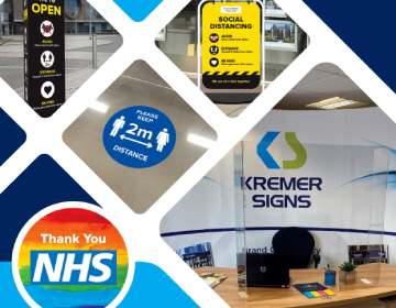Desk Shields & Social Distancing Signage from Kremer Signs