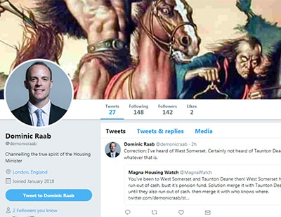 Fake News! - housing minister 'Dominic Raab' hits out on Twitter