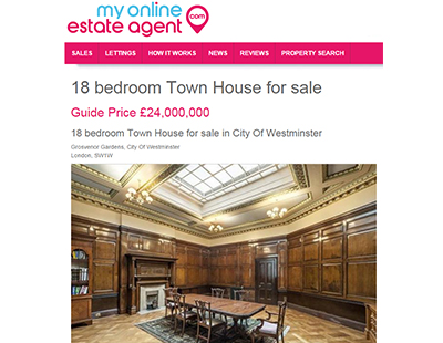 £24m London mansion for sale … through an online estate agent