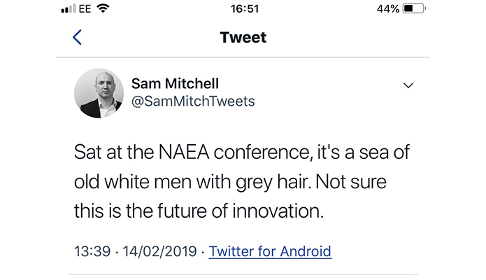 "NAEA conference just ""old white men with grey hair"" says online boss"