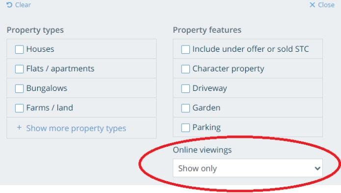 OnTheMarket's new filter prioritises online viewing options