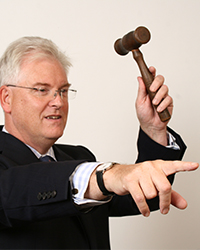 judge pointing and raising his hammer about to sell something