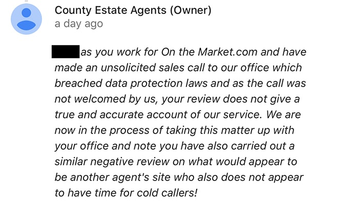 OnTheMarket sales rep wrote critical review of agency after cold call