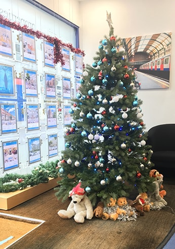 Today's festive office pics: a teddy-tastic tree and Christmas houses